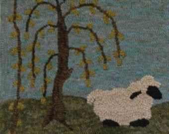 Sheep with Willow   Rug Hooking Kit