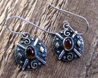 Amber Sterling Silver Shield Earrings Bohemian Jewelry