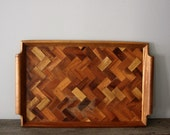 Vintage Wood Inlay Serving Tray
