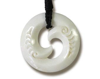 Carved Bone Koru Necklace (bone necklace 010)