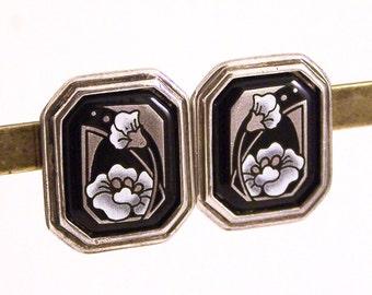 Vintage Michaela Frey Earrings, Michaela Frey Team Earrings, Deco Earrings, Frey Team Earrings, Clip on Earrings, Floral Earrings