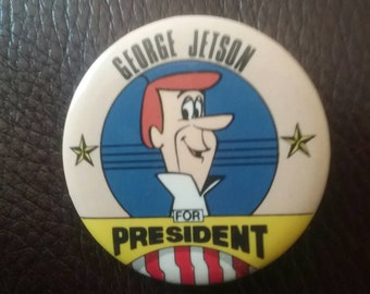 1983 George Jetson for President Democrat Republican Donkey Elephant Gift Hanna Barbera Button Up Company Box Politics Clinton Trump Pin