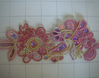 White & Clear and Pearls Sequins Flower Applique
