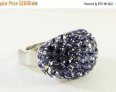 SALE 30 Vintage Jewelry Blue Rhinestone Ring