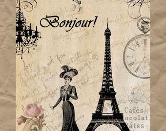 Digital Vintage Scrapbook, Digital Paris and Eiffel Tower Paper, Paris Eiffel Tower, Digital Transfer, Shabby Chic Print. No. TF.10