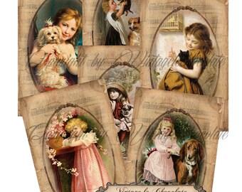 Digital Paper, Digital Scrapbook Paper and Vintage Labels, Children Digital Cards and Tags, Vintage Victorian Children. No 508