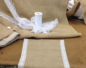 """Burlap and Lace Trimmed Table Runners - 14"""" wide Style #LW15A (1.5"""" Wide White Lace)"""
