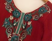 80's India Tunic Ruby Red Silk Chiffon with Jade Green and Ivory Embroidery with Pearl Bead and Rhinestone Trim Boho Blouse Size XS