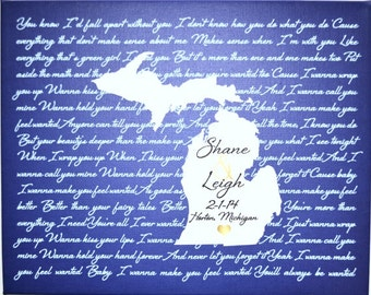 Michigan anniversary gift michigan map song lyrics, valentines gift for him michigan print, housewarming gift, state map art,birthday gift