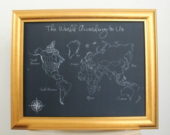 Modern Style Fabric Push Pin World Travel Map - Framed and Customizable
