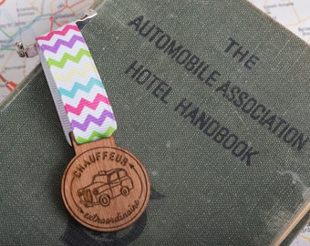 Chauffeur Medal for Modern Achievements ~ taxi driver, dad, mum, parent medal / brooch / badge