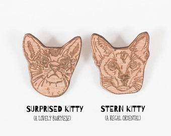 Kitty Cat brooch / badge - gift for cat lover / burmese / siamese