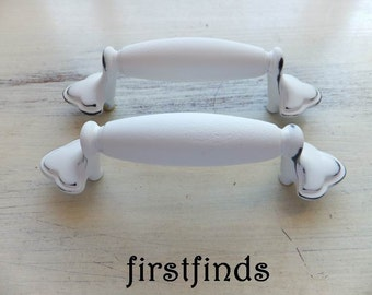 2 Shabby Chic Drawer Pulls Kitchen Cabinet Handles White Cupboard Hardware Door Cottage Painted Furniture Pair 3inch ITEM DETAILS BELOW