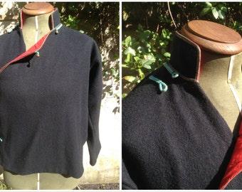Vintage 1960s Wool Military Jacket/Cape/Bolero - Boho Retro European - Black Red SMALL/MEDIUM