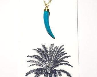 Blue Stone Tusk Necklace