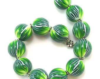Round stripes beads for jewelry making, Polymer Clay ball beads in greens and white, set of 12 unique beads