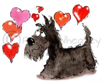 Scottie Dog 'Love Hearts'  Art Print 8X6 inch #169