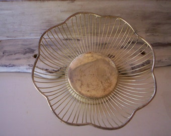 Silverpleted metal basket/Octagon scalloped metal basket/Wedding basket/Mothers day metal basket/Rustic metal basket/napkin metal basket