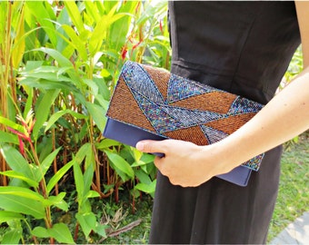 Beaded clutch purse, Navy blue clutch purse, satin clutch, evening purse sparkling shimmering clutch