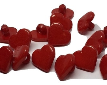 10 Heart Shaped  Resin Plastic Shank Button - Red 12mm Pack of 10 - PB113