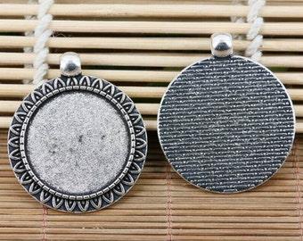 3pcs tibetan silver tone round 25mm cabochon settings EF2121