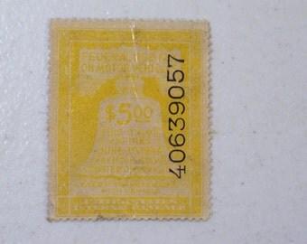 1944 US Motor Vehicle Revenue Tax Stamp, 5 Dollars, Scott # RV18, MNH, mint