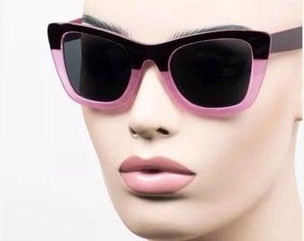 LOVE U SALE Pink Color block Frame Sun Glasses