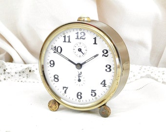 Working Vintage French Jaz  Mechanical Alarm Clock / European / Wind-up Clock / Retro Vintage Home Interior / French Country Decor / White