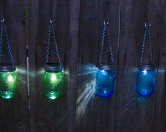 Hanging Mason Jar Solar Lights - Choice of Blue or Green Heritage Mason Jar
