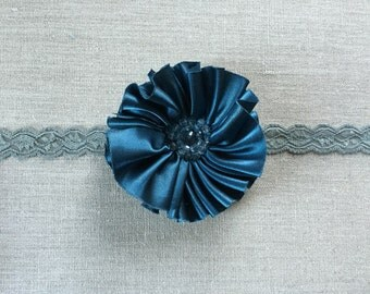 Royal blue silk flower