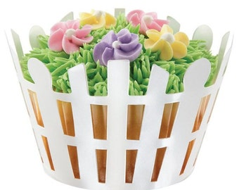 PICKET FENCE Cupcake Wrappers, Spring Easter