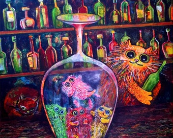 Drinking Escapade Cats Art Print on Paper 8.5/11 inch