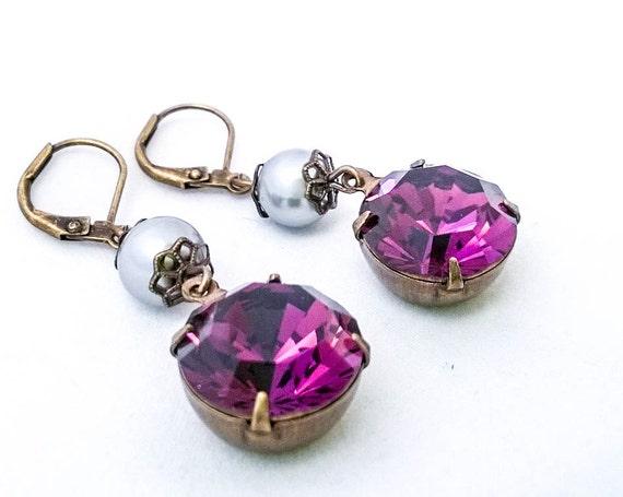 Vintage Purple round rhinestone grey pearl dangle latch back earrings