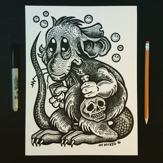 Sharpie Sketch Drawing -  Rat with Skull Vodka
