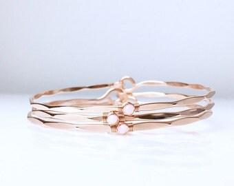 Set of BRIDESMAID Blush Bangles / Peruvian Pink Opal Bracelet / Gold or Sterling Silver / Rose Gold / Blush Bridesmaid Bracelets