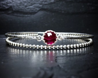 Genuine Ruby Bracelet / 14k Gold Filled or Sterling Bangle / July Birthstone / Mothers Jewelry / Gemstone Bangle / New Mom Gift