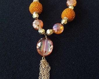 Orange and Gold Necklace with Chain Tassel
