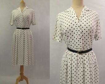 Spotted Shirt Waist Dress - 1950s