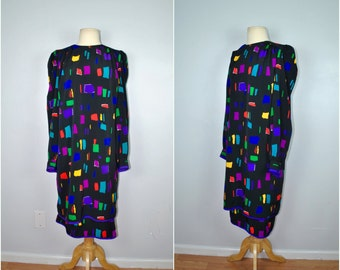 Colorful Long Sleeve 80s Dress, 80s Vintage Shift Dress