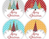 Merry Christmas Stickers - Grey, Red, Turquoise, Orange Dots, Silly Christmas Trees Envelope Seal Stickers - Christmas Envelope Seal Labels