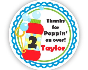 Bubbles Stickers - Blue Green Red, Primary Colors, Blowing Bubbles, Cute Popping Bubble Personalized Birthday Party Stickers - Custom Labels