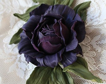 Violet leather rose brooch