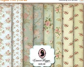 75% OFF SALE DIGITAL Paper Digital Collage Sheet set of 8 - 5x7 inches Shabby Roses No 02 Background Large Image Scrapbooking