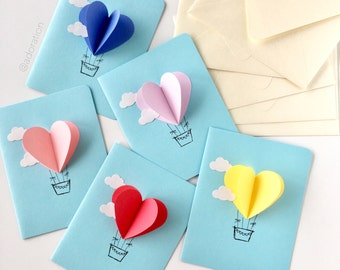 Heart Hot Air Balloon Card (Sky Blue)