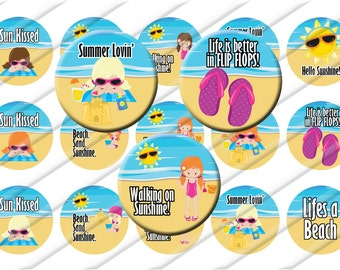 Summer Theme Bottle Cap Images 1 inch circle image sheet Digital Collage INSTANT DOWNLOAD Beach Party Flip flops