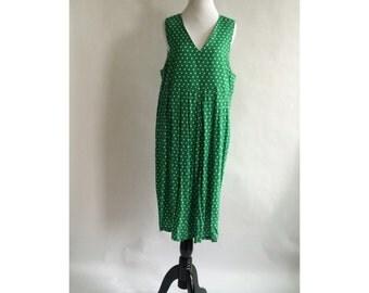 Green Vintage Polka-dot Dress // Plus Size - SALE