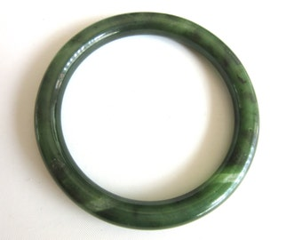 Nephrite Jade Jadeite Bangle Marbled Spinach Green 37 grams