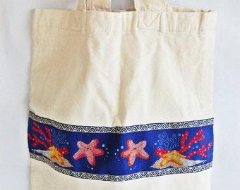 Cross stitch, bag, Ready to ship,bag in beige fabric,handmade, seabed, women,shopping,gift, women, marine world, lurex,gold,blue,girl