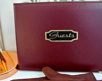Vintage Guest book/register - Burgundy/Maroon padded cover with gold trim