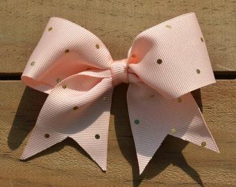 "Blush Pink and Gold Dots Ribbon 4"" Medium Hair Bow Clip Infant Toddler Girls"